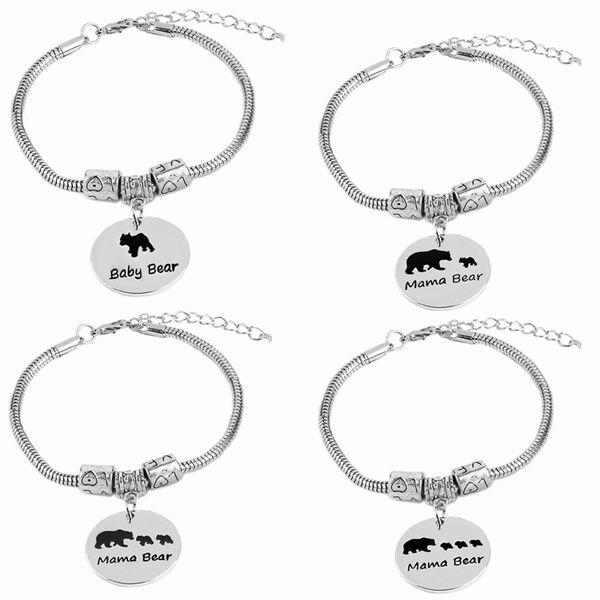 mama bear Bracelets For Women vintage mama bear charm bracelet 1 2 3 cubs babies Snake Chain birthday gift baby bear pendants
