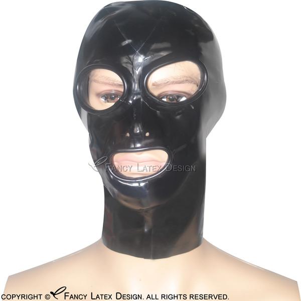 Black Sexy Latex Hoods Open Eyes Mouth Nose Holes With Zip At Back Fetish Rubber Masks Bondage Plus size TT-0014
