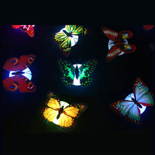 Colorful LED night light led paste flowers butterfly sucker Creative night light creative energy-saving decorative wall light sconce