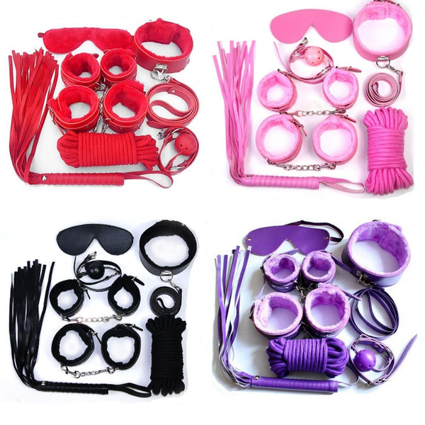 Bondages 7Pcs/set Bondage Kit Set Fetish BDSM Roleplay Handcuffs Whip Rope Blindfold Ball Gag Black/Red/Pink/Purple Slave Bondage Kit F0021