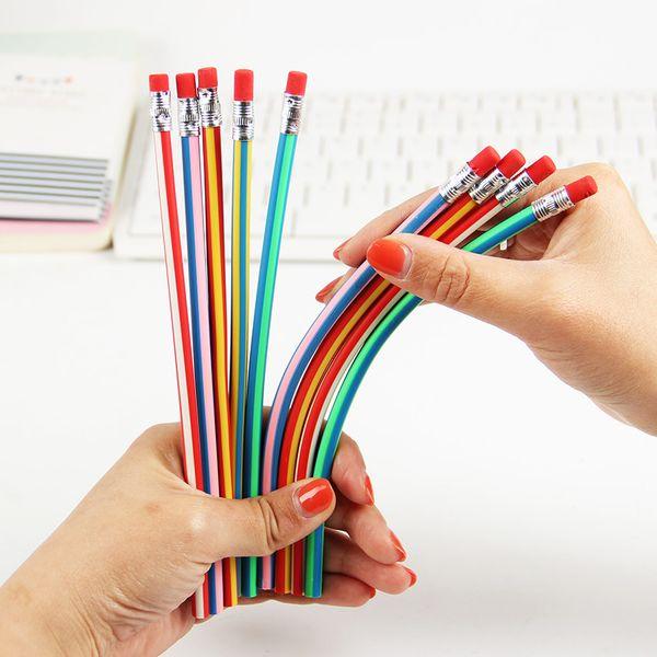 10pcs Cute Stationery Colorful Magic Bendy flessibile morbida matita con gomma Studente Ufficio scolastico Usa 1707006