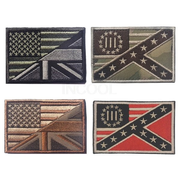 50 PCS Embroidery Patch Three Percenter US UK Flag Morale Patch Tactical Emblem Badges Embroidered Patches Wholesale