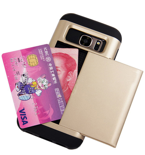 Christmas gift Cell phone credit card holder cover Slide Card Slot Wallet Phone Case for samsung galaxy s7&edge iphone6&6s 7&7plus case