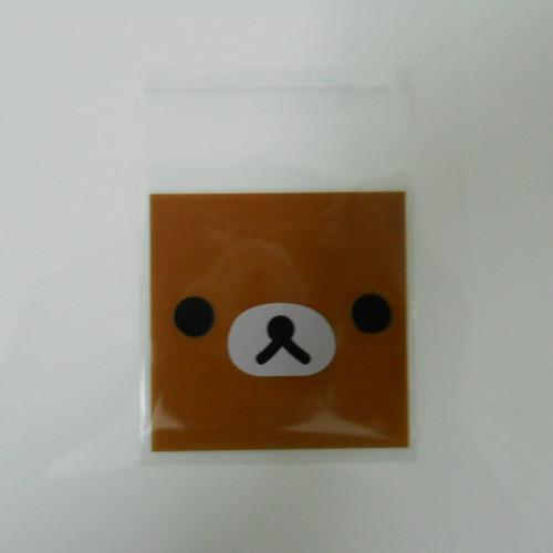 7*7cm 400Pcs/Lot Cookie Packaging Brown Bear Self Adhesive Plastic Event Pack Bags for Biscuit Snack Cupcake Baking