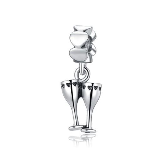 Fits Sterling Silver Bracelet Heart Wine Glass Goblet Drink Dangle Beads Charms For Diy European Style Snake Charm Chain Fashion DIY Jewelry