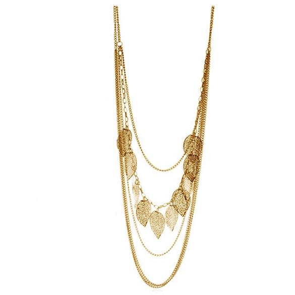Vintage Leaf Necklaces For Women Multi -Layer Metal Tassel Necklaces Jewerlry Long Sweater Chain Necklace Women Silver Gold Black
