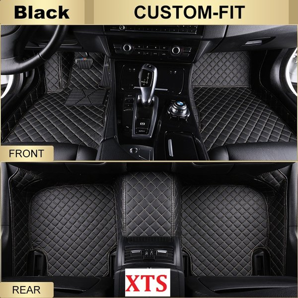 SCOT All Weather Leather Car Floor Mats for Cadillac XTS Waterproof 3D Anti-slip Front & Rear Carpet Custom-Fit Left-Hand-Driver-Model