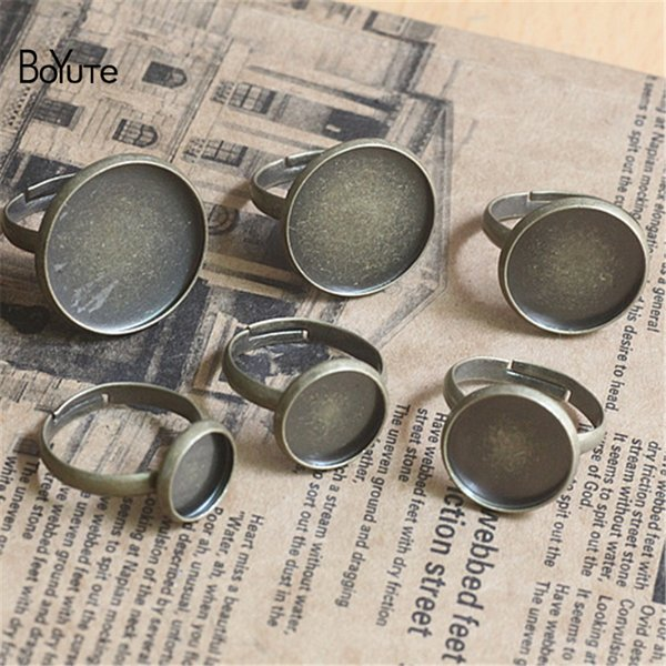 BoYuTe 50Pcs 10MM 12MM 14MM 16MM 18MM 20MM Cabochon Base Ring Setting Jewelry Findings & Components Adjustable Silver Ring Base