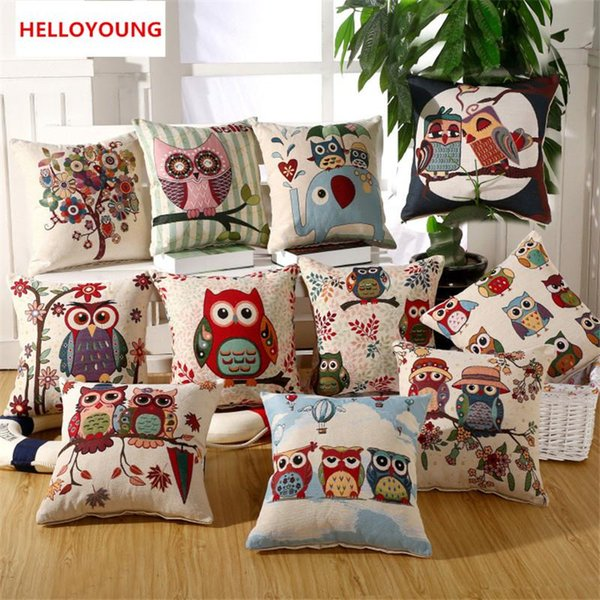 BZ057 Luxury Cushion Cover Pillow Case Home Textiles supplies Lumbar Pillow Owl decorative throw pillows Embroidered