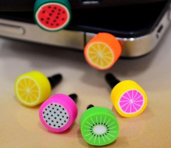 Toptan 3000 adet için Sevimli Meyve anti toz fiş iphone ve 3.5mm kulaklık kap cep telefonu için ücretsiz kargo