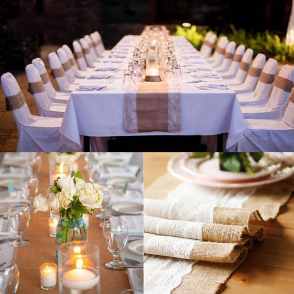top popular Natural Burlap Table Runner Hessian Vintage Tablecloth Cover with Jute Lace Rose Pattern for Wedding Party Rustic Decor 2019