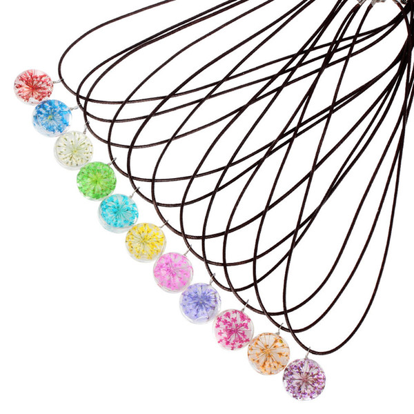 11 color Lace Flower Necklace Glass ball time gemstone pendant rope chain 20 MM