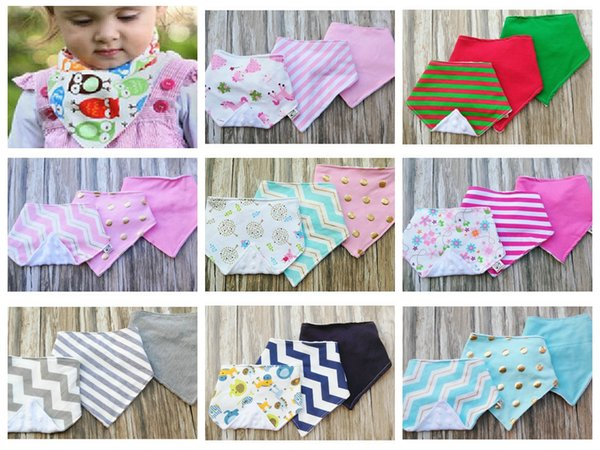 3pcs/set Infant Baby cotton minky dots Bibs burp Cloths water absorption double layer Triangle Saliva Bavoir Towel Pinafore Apron bib YE011