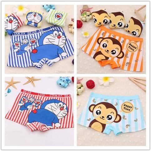 2 options 4 color mix baby comfortable cotton knit panties children underwear boy boxers briefs with little mokey Doraemon cat cartoon
