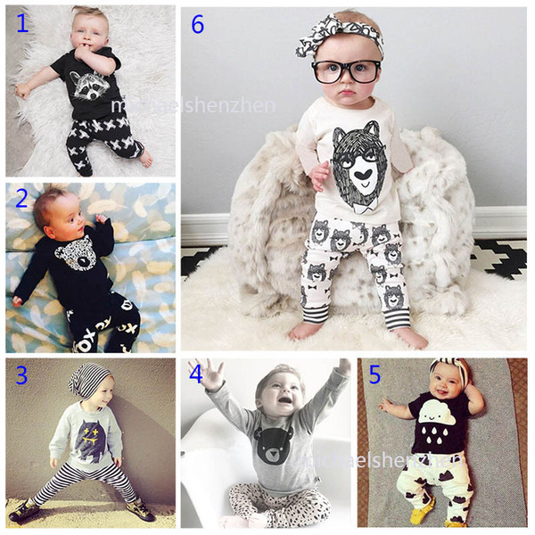 30 Style bébé INS lettre de rayure de renard convient à l'enfant Toddler Infant Casual T-shirt à manches longues + pantalon 2pcs ensembles pyjamas nouveau-né vêtements