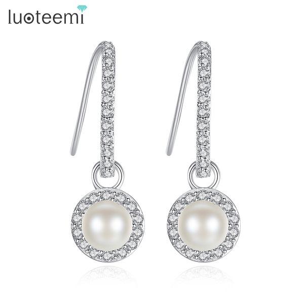 Trendy White Gold Color Imitation Pearl Drop Earrings for Woman Sweet Clear Shining CZ Rhinestone Elegant Brincos LUOTEEMI