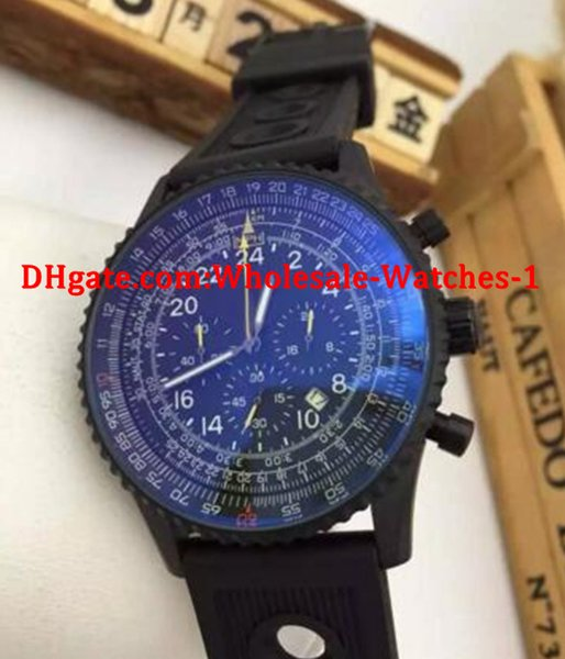 Оптовая продажа-новые мужчины полный черный navitimer хронограф кварцевые часы резинкой желтые иглы часы мужчины платье часы
