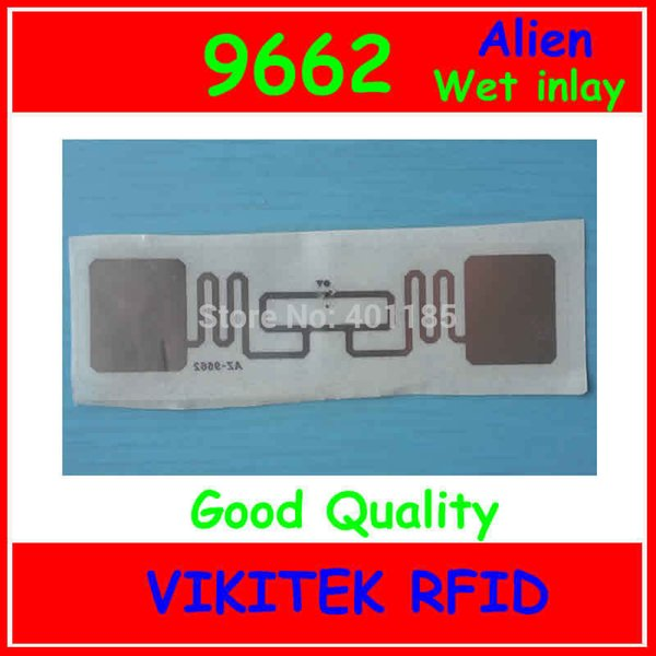 Wholesale- Wet inlay Alien authoried 9662 sticker UHF RFID 860-960MHZ Higgs3 EPC C1G2 ISO18000-6C can be used to RFID smart tag and label