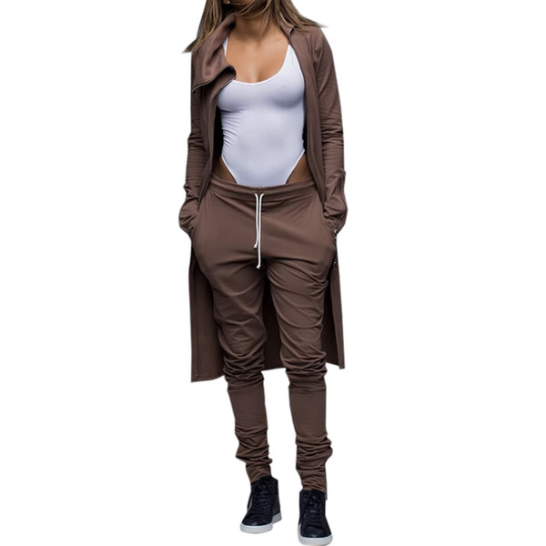 Wholesale- Women Winter Sexy Club Zipper Jumpsuits High Collar Regular Playsuits Two Piece Outfits Crop Long Skninny Pants Set For Womens