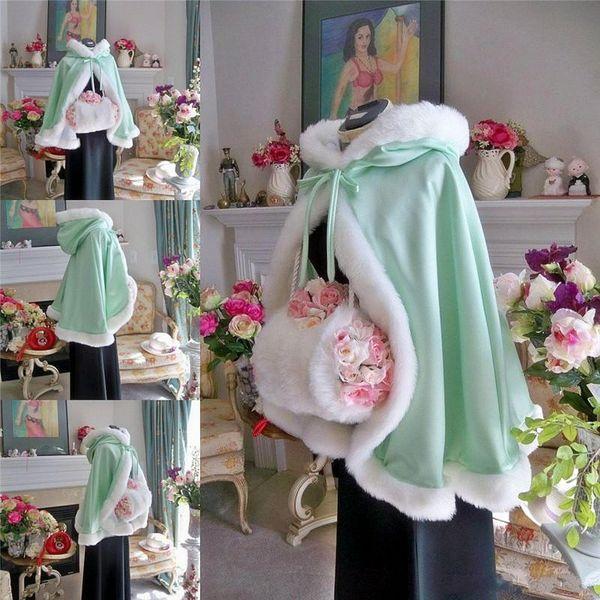 Top Sale Short Bridal Cape Wedding Cloaks Faux Fur With Satin 2017 Warm For Winter Wedding Bridal Wraps Bolero Hooded Jacket