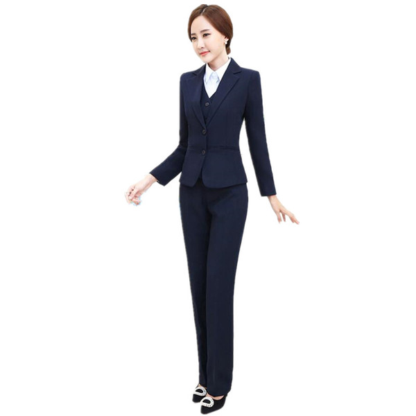 2019 Female Suit Elegant Fashion Custom Business Workwear Three Piece Set  Two Solid Color Women Suit Jacket + Pants + Vest Custom Made From