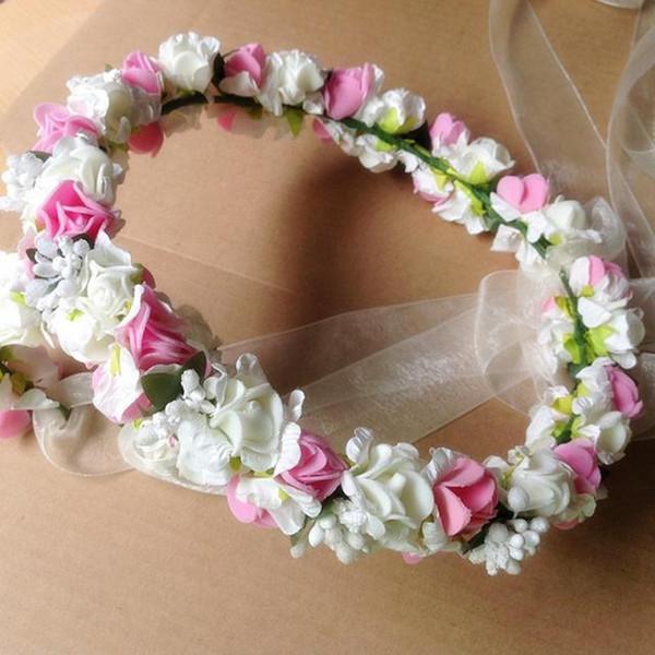 High Quality Bride Accessory Lotus Flowers Hair Bridal Wedding Flower Garland Headbands Crowns Elastic headband