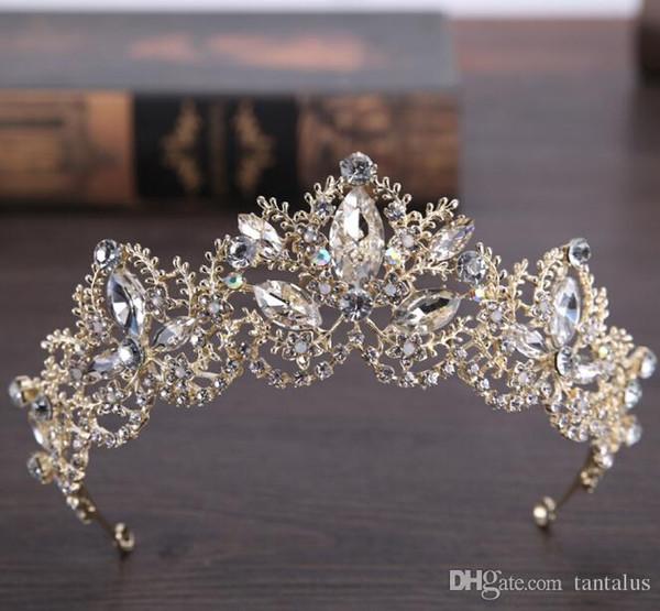 Сплав корона невесты свадебные аксессуары для волос свадебные headdres тип ювелирных изделий горный хрусталь тиару роскошно покрашенные золотой инкрустацией АБ сверла