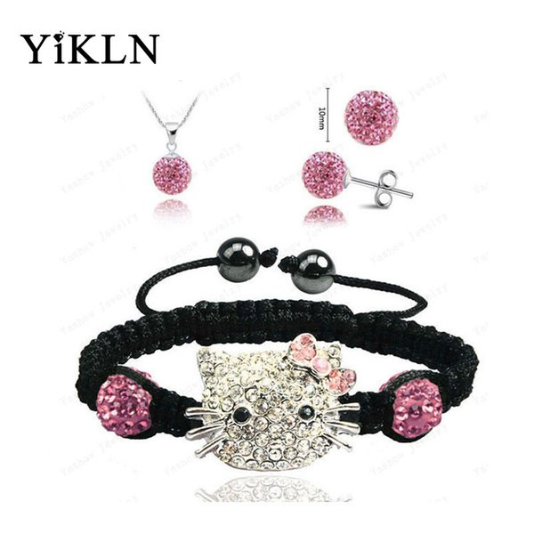 Hallo Kitty Fashion Shamballa Sets Armband Ohrringe Anhänger 10mm Micro Pave CZ Disco Ball Perlen Shamballa Schmuck SHSE41