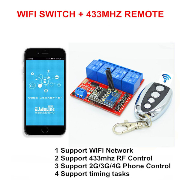 Wholesale- New 4 Way 5V DC 10A WIFI Light Switch Universal Smart Home Automation Module Timer Diy, RF 433mhz Wireless Remote Control