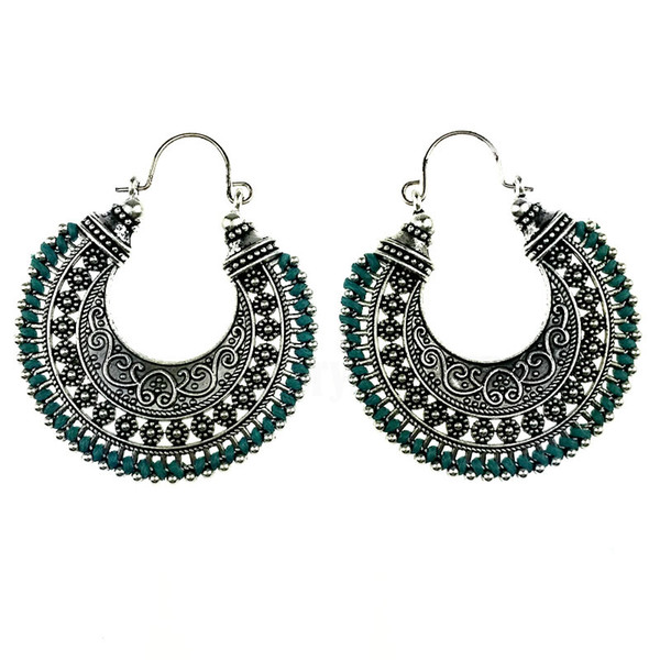 Wholesale- Tribal Antique Silver Color Hand Made Color String Braided Hollow Hoop Earrings Jewelry For Women