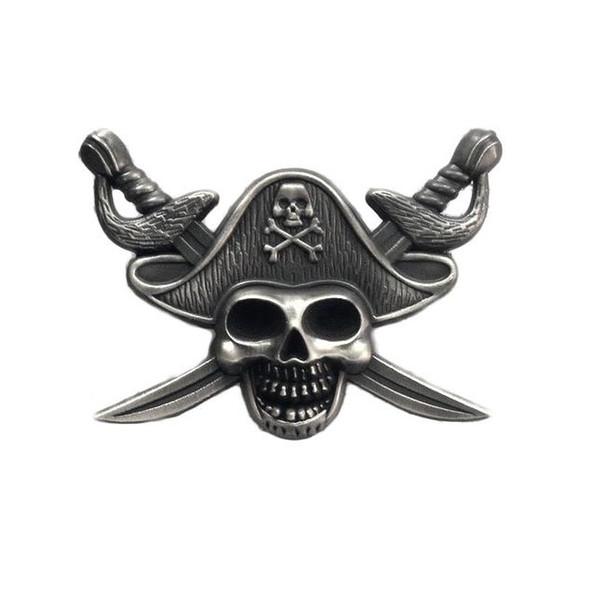 Luxury Pirates of the Caribbe Badge Skull Spilla Biker Biker Spille per giacca Cappello Retro spilla con colletto in metallo