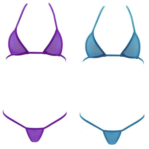 NEW Women hot sexy mini micro bikini swimwear set bandage europan triangle transparent tiny swimsuit beachwear bra + g-strings thongs