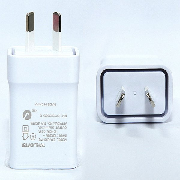 High quality 5V 2A insulation AU Plug Wall Charger Adapter For Samsung Galaxy S3 S4 S5 I9500 I9300 Note 2 3 4 N7100 white