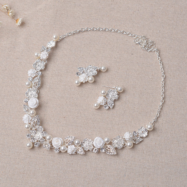 Beauty Silver Flower Bridal Necklace Earring Suits 2 pieces Jewelry Suits Wedding Bridal Jewelry P419014