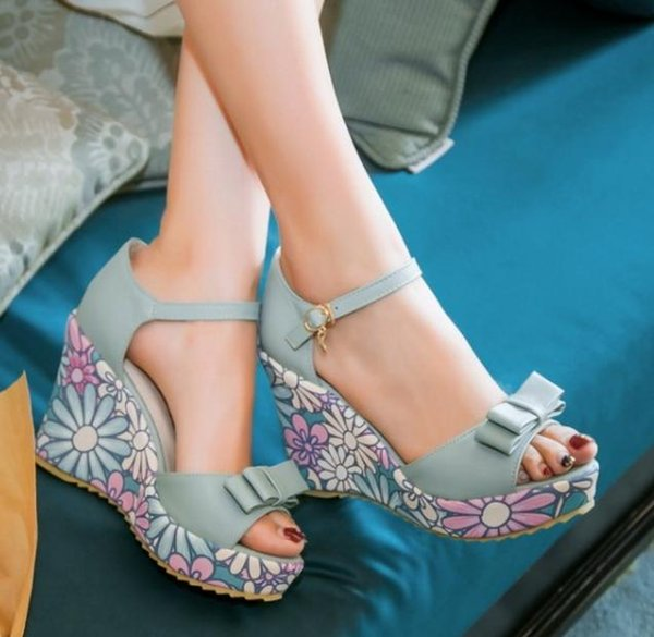 Sweet Floral Printing Leather Bridal Sandals High Heel Wedge Platform Shoes Pink Blue Beige Extra Plus Size 33 34 to 40 41 42 43
