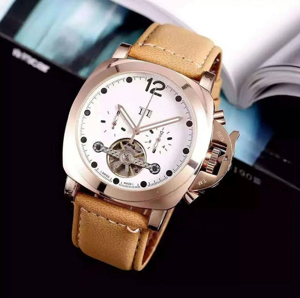 FashionTop Brand Men's watch leather wristwatch Watch Mechanical Automatic Auto Date Clock Steel watch free shipping F1