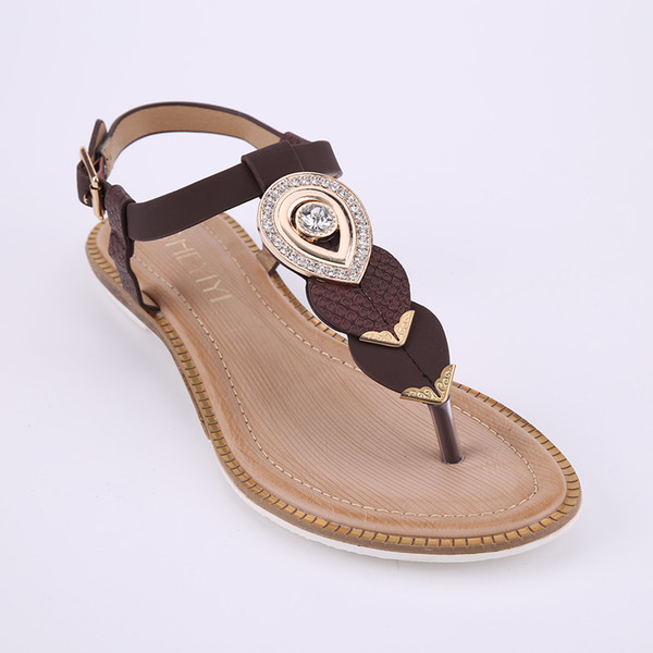 df540edae HEYIYI Brand Women s Sandals Brown Flat Thong Shoes Open Toes Ankle Strap  Buckle Diamond Summer PU