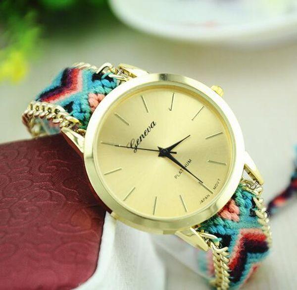 Moda mujer reloj hecho a mano tejido cuerda pulsera mujeres reloj colorido Ginebra reloj tejido a mano señoras reloj de cuarzo