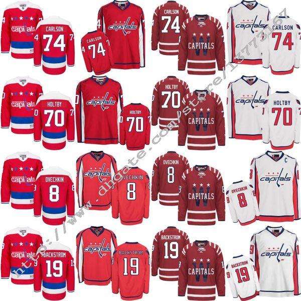 4a8457779e0 Mens 2017 Washington Capitals Ice Hockey 8 Alex Ovechkin 19 Nicklas  Backstrom 70 Braden Holtby 74