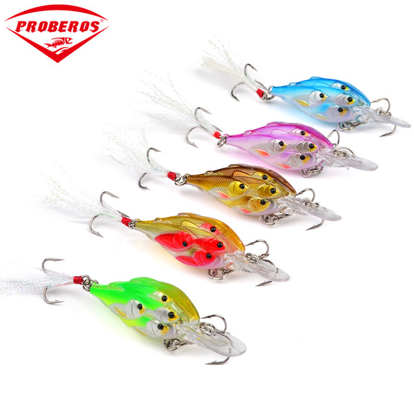 """5pc Painted Fishing Lures 2.76""""-7cm/0.22oz-6.22g Crank Bass Baits with Retail PVC Box Package Fishing Tackle"""