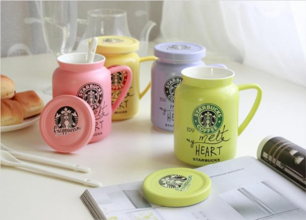 Cup Message Style Mug Starbucks Color Fresh Ceramic Small Spoon Mugs Coffee With Cover Milk Leave Gift 450ml Artistic House OZiuPXkT