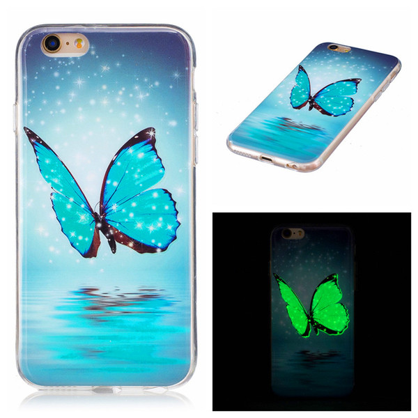 For iPhone 6S 7 Colored Drawing Noctilucence Night Light Ultra Thin Soft TPU Glow In The Dark Case For Samsung S6 S7 edge