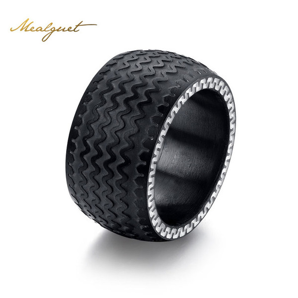 Meaeguet Cool men rings jewelry stainless steel wedding rings with black color tire design wholesale high quality ring RC-078