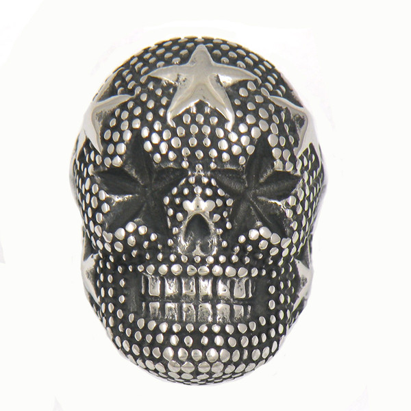 CUSTOM MADE STAINLESS STEEL PUNK VINTAGE MENS JEWELRY STAR SKULL HEAD BIKER RING GIFT FOR BROTHERS SISTERS 13W85