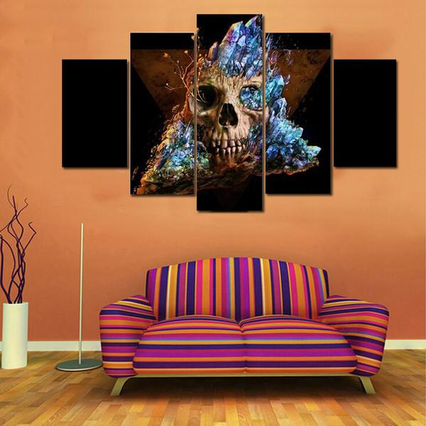 Großhandel 5 Teile / Satz Günstige Horror Schädel Leinwand Malerei Kein  Rahmen Wohnzimmer Wandbilder Moderne Kunst Bilder Drop Shipping Von ...