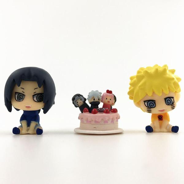 3 pcs Mignon Mini Naruto Anime Naruto Sasuke PVC Figurines Jouets Poupées