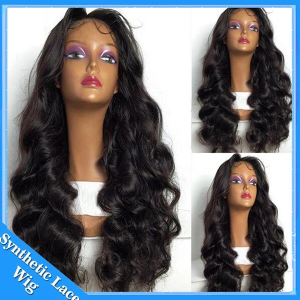 Wholesale Price Cheap Wig Kinky Loose Curly Full Lace Hair Synthetic Wigs For Black Women Body Wave Synthetic Lace Fronrt Wig