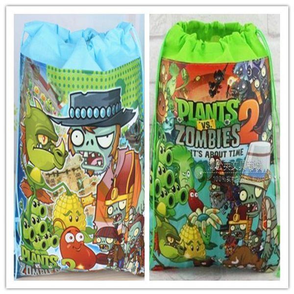 24Pcs New Plants vs Zombies Drawstring Boys Girls Cartoon School Bag Children Printing School Backpacks for Birthday Party Gifts