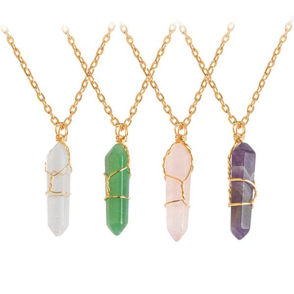 2017 nuevo Bulk Charms 6 lado Péndulo Bala Opal Tigre Ojo Malaquita Turquesa Jade Colgante Collar de Piedra Natural Cristales Curativos de Cristal