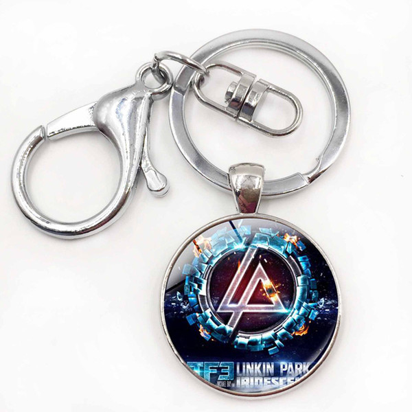 Rock band linkin park logotipo keychain liga de zinco de vidro retro rocha keychain para chave para os fãs de moda jóias declaração